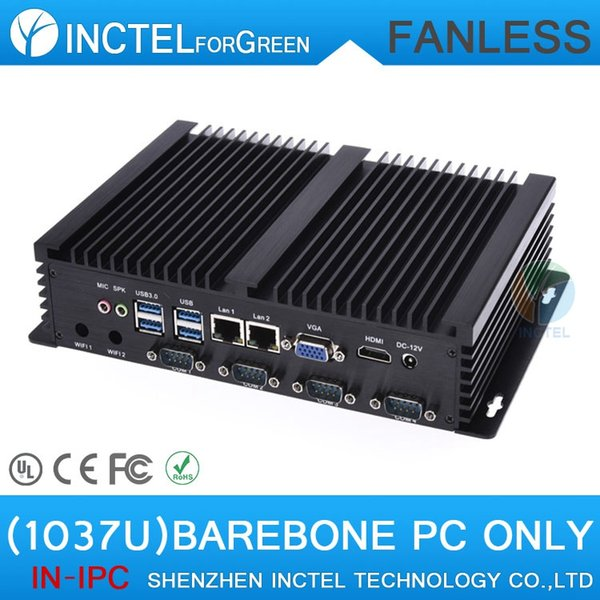 Barebone Mini IPC Industrial embeded fanless barebone computer with Intel Celeron C1037U 1.8Ghz USB 3.0 Dual Gigabit Lan 4 COM HDMI