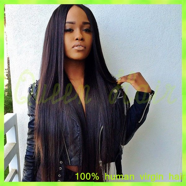 Silky Straight Glueless Full Lace Human Hair Wigs Brazilian Virgin Hair Lace Front Wig For Black Women With Baby Hair Wig