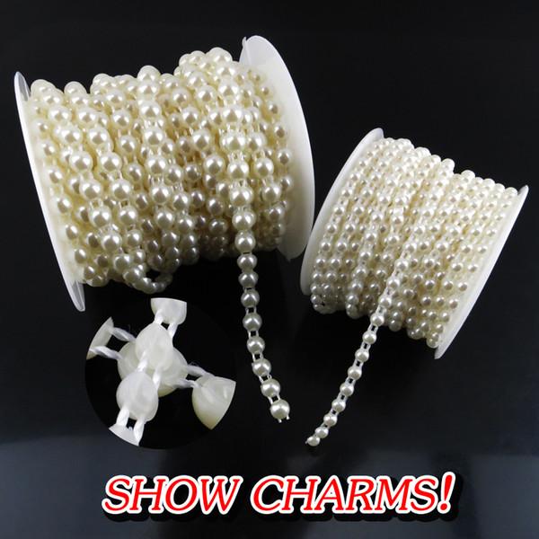 All'ingrosso- (4 mm + 6 mm) Perla strass Applique 4 colori strass cucito Appliques Mezza tondo posteriore piatto Sew On Beads per abiti da sposa