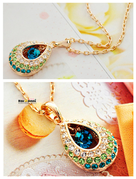 Fashion Jewelry CZ Diamond 18K Gold Plated Sapphire Emerald Ruby Crystal Necklaces Pendants For Women Brand Jewelry