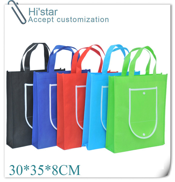 30*35*8CM 20pcs Folding into wallet easy carry non woven shopping bag for gift/advertisement/party/supermaket accept custom