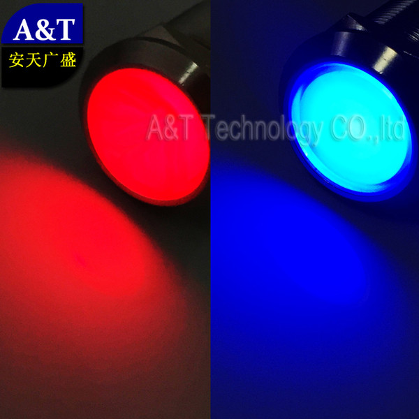 Double Led Dual Color Red Blue 12V 24V Eagle eye illuminated Metal Push Button Latching ON OFF Vehicle Car Automotive Switch