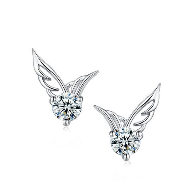 Fashion Women Ear Stud Jewelry 925 Sterling Silver Angel Wings Crystal Earrings Chic Beauty Wings of the Angel Ear Studs Gifts Drop Shipping