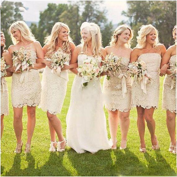 cheap 2015 Champagne Lace Plus Size Short bridesmaid dresses Sheath Wedding bridesmaids' Gowns Off the Shoulder sleeveless