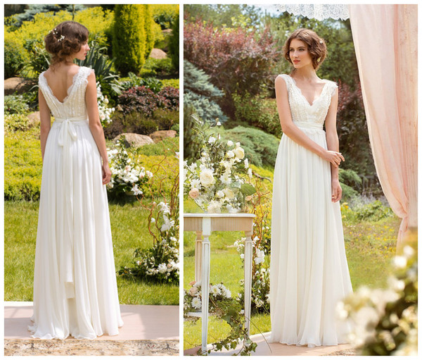 top popular 2019 Sexy Bohemian Wedding Dresses Chiffon and Lace Beach Garden Bridal Gowns with V Neck V Back Floor Length Custom Made New 2019