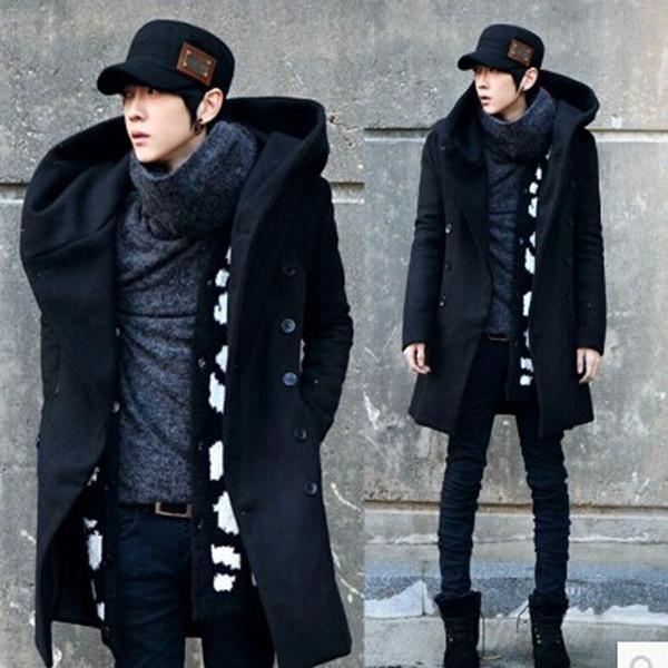 Winter Mens Long Woolen Trench Coat Male Hooded Jacket Coat Korean Style For Men Warm Dress Overcoat 3 colors Plus Size