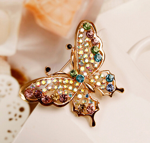 Butterfly Brooch Pin Rhinestone Brooch Crystal Brooch Fall Autumn For Party Wedding Anniversary Gift Collection Purple Gold In Various Color