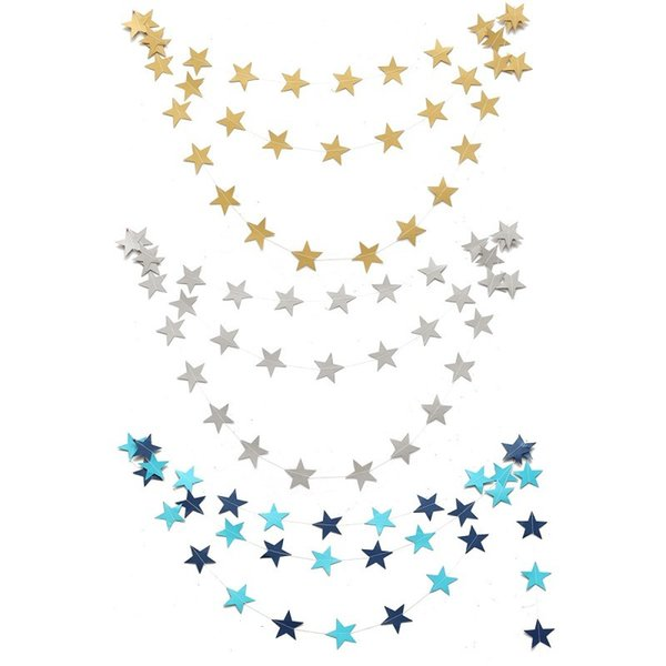 Wholesale-Hanging Paper Star Garlands 4M Colorful Bunting Home Holiday Birthday Wedding Party Banner Shower Room Door Decoration