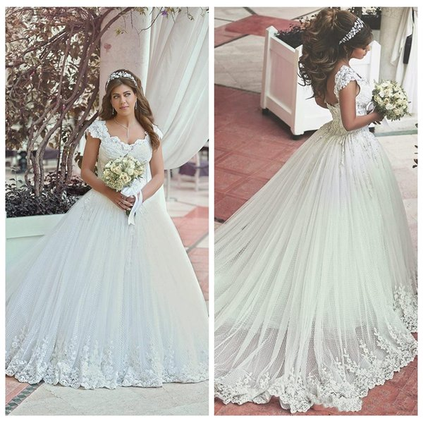 Plus Size Wedding Dresses 2018 Lace Modest Cap Sleeves Vintage ...
