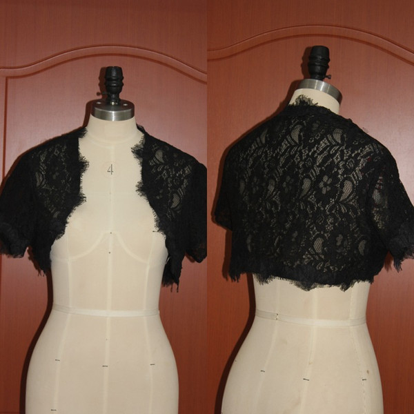Black Lace Gothic Vintage Short Sleeve Bridal Jackets For Weddings 2017 Real Photos High Qualiy Bridal Accessories Custom Made EN12016