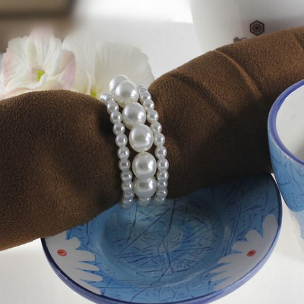 Neue glänzende Perlen-Serviette-Ringe für Hochzeits-Bevorzugungs-Versorgungsmaterial-Partei-Tabellen-Dekoration-Zusätze Hochwertig Freies Verschiffen