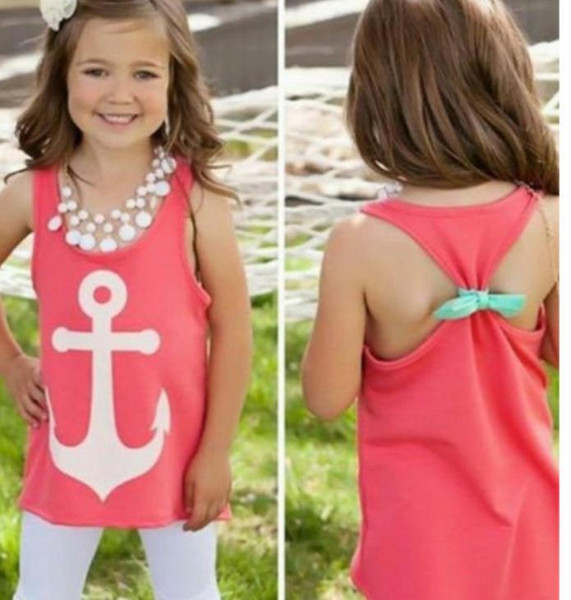 best selling new baby girls Anchor print Tank Tops Graphic Tee brand designer cute kids Sleeveless bow back t shirt Summer Style vest 4-12T BY0000