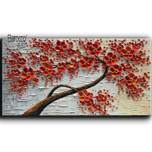 El Boyalı Palet Bıçağı Yağlıboya Kırmızı Çiçekler Ağaç Modern Duvar Sanat Dekorasyon Ev Oturma Odası
