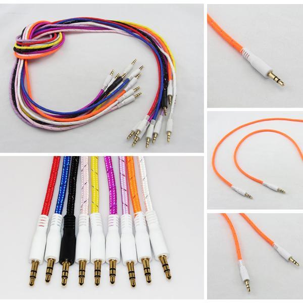 Geflochtene AUX Kabel 3,5mm Audio Auto Verlängerungskabel Auxiliary Stereo Jack Male 1m 3ft Blei für Handy S