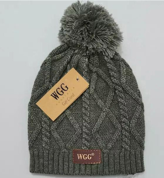Hot! New WGG cashmere hat Fashion knitted wool hat Checkered pattern Women winter hat Free shipping