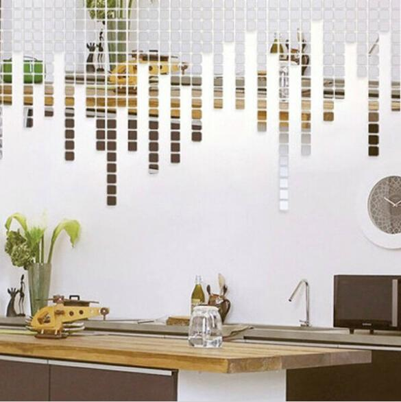 Free Shipping 100 pcs/bag 2x2cm Fashion Gold Silver 3D Decorative Wall Mirror Sticker For Home Living Room Bedroom Decor