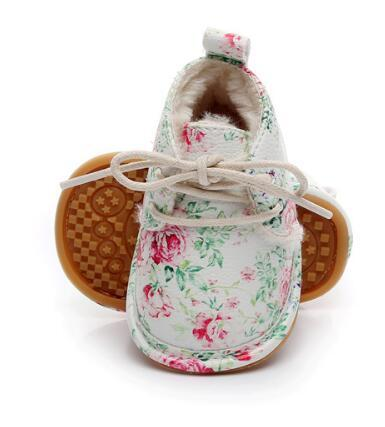 Hot sell super warm PU leather with fur winter shoes lace up floral printing baby moccasins toddler girls boys snow boots
