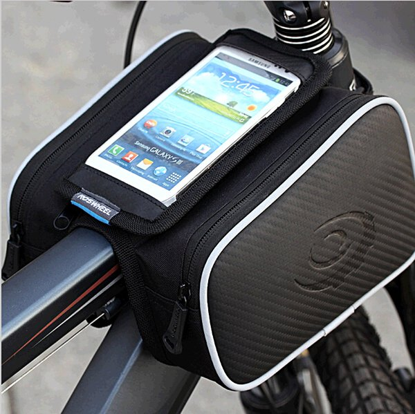 "2016 New ROSWHEEL Bicycle Bag MTB Road Bike Front Frame Tube Bag Touch Cycling Bag for 5.5"" Phone Repair Tools Purse Waterbottle"