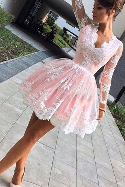 Pretty Pink Ball Gown Short Prom Dresses Cocktail Party Gowns Lace Appqliued Long Sleeve Special Occasion Dresses For Evening