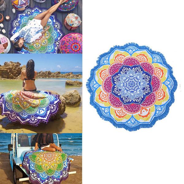 best selling Tassel Indian Toalla Mandala Tapestry Beach Towel Sunblock Round Bikini Cover-Up Blanket Lotus Bohemian Yoga Mat 150cm
