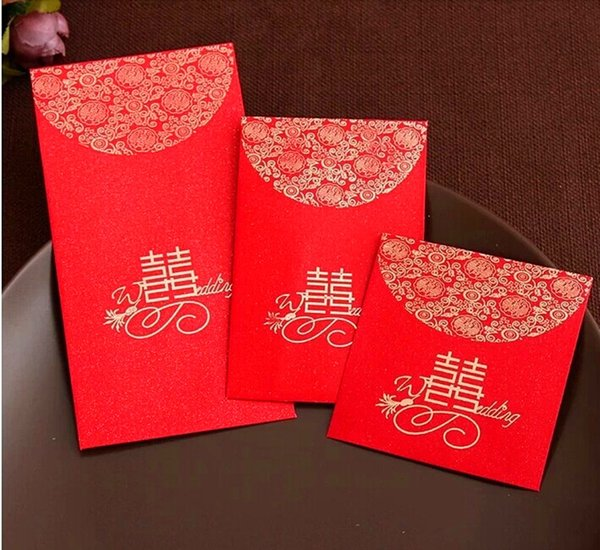 best selling China Traditional Wedding Favor Chinese Red Packet Envelope Gift bag Stamping Happiness Give children lucky money in New year Free Shipping