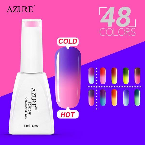 2015 Brand Azure top sales gels for nail charming chameleon temperature change color UV gel nail polish 48 colors optional