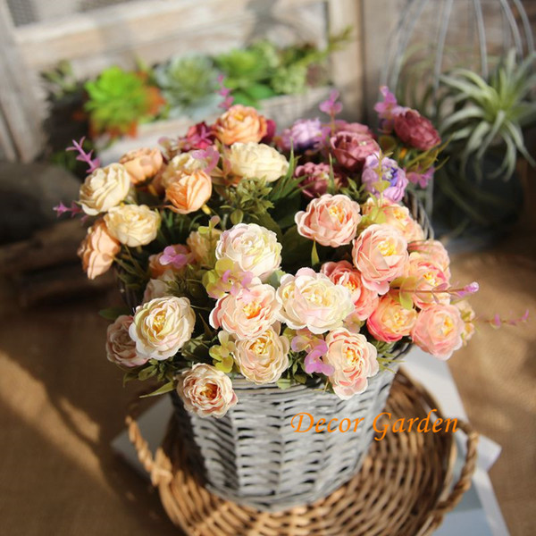 Wholesale 5 Colors 10 Heads Painting Tea Roses Bunch Silk Simulation Fake Flowers For the Wedding Supplies Home Decoration MW46965
