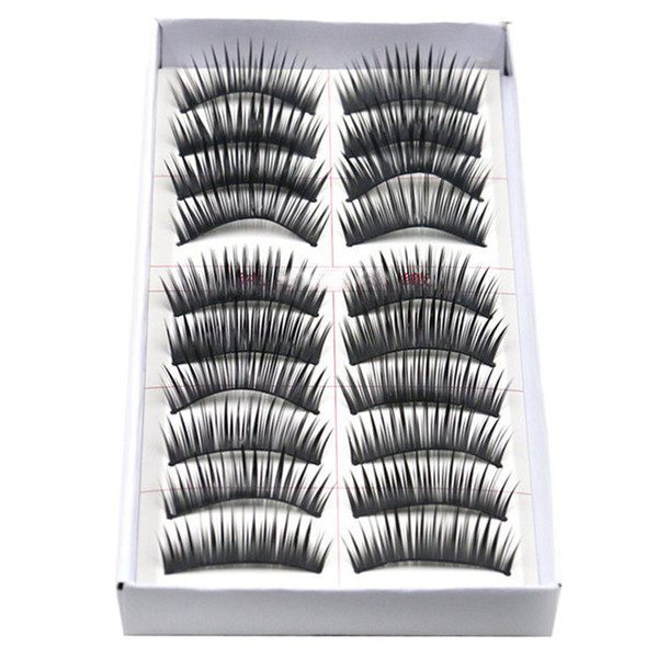 Wholesale-fabulous 2015 10 Pairs Eyelashes Party black Thick Stage Makeup Essential Simulation Eyelashes women beauty and health supplies
