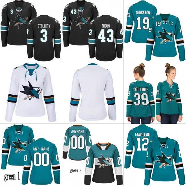 Lady San Jose Sharks Jersey 12 Patrick Marleau 20 Marcus Sorensen 68 Melker Karlsson 42 Joel Ward 50 Chris Tierney Hockey Jerseys
