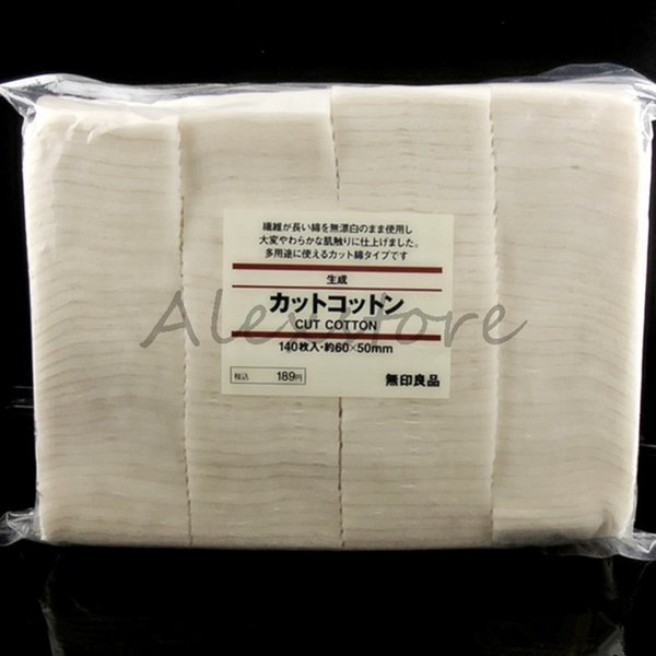 Authentic Japanese Cotton Unbleached Organic Cut Nature Cotton 140pcs/Bag 50mm*60mm from MUJI Wicking Pad Wick PK Pure Koh Gen Do Puff DHL