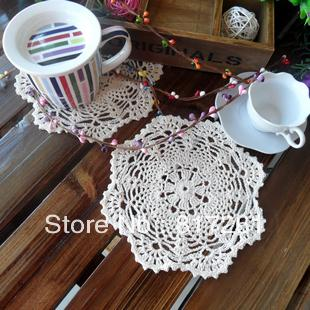 Beautiful free shipping crochet 100% cotton doily cup placemat heat insulation pad round zakka 19cm flower coaster for tea table