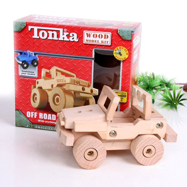 TONKA wooden disassembly assembly model Tanker Motorcycles Plane Forklift Jeep children's educational ideas DIY toy car building blocks