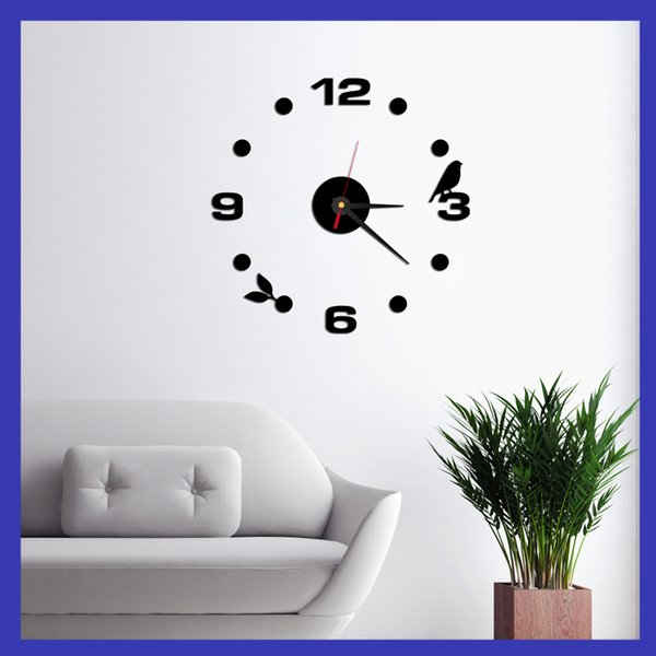 Hot Large Wall Clock Modern Design Quiet Interesting Home Decor 3D DIY Clock  Roman Numeral Art