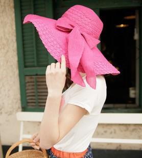 Venta al por mayor-9 colores de las mujeres de ancho grande del ala del verano de la playa del sol del sombrero de paja 2015 Casual Bowknot Sun Block sombreros de la rafia Chapeau feminino