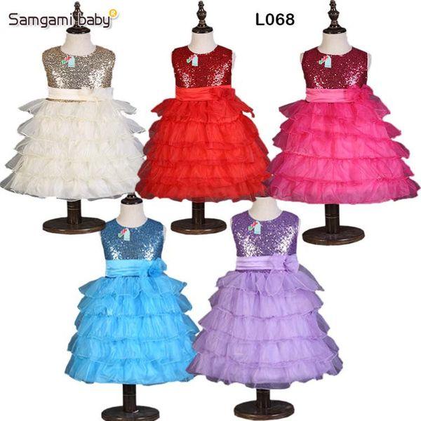 Pretty baby baby girl cake dress girls sin mangas princesa vestido de niña 3d bodas de flores vestido de fiesta chica lentejuela princesa dress envío gratis
