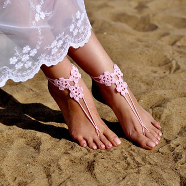 Crochet Light Pink Barefoot Sandals, Beach shoes, Foot jewelry, Bridesmaids gift, Barefoot sandle, Beach accessory, Wedding accessory