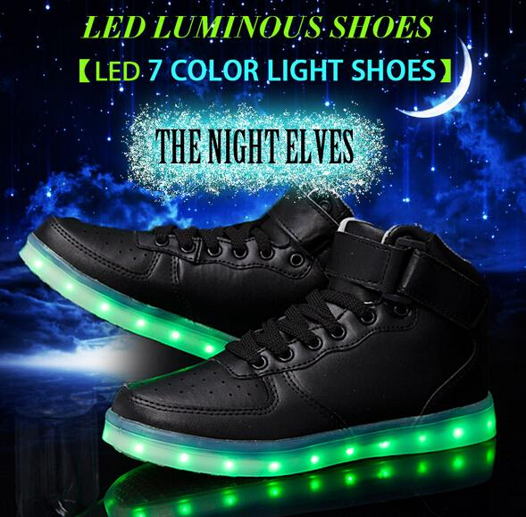 2016 High quality LED seven color light shoes women's and men's high shoes USB rechargeable lamp black and white Casual shoes