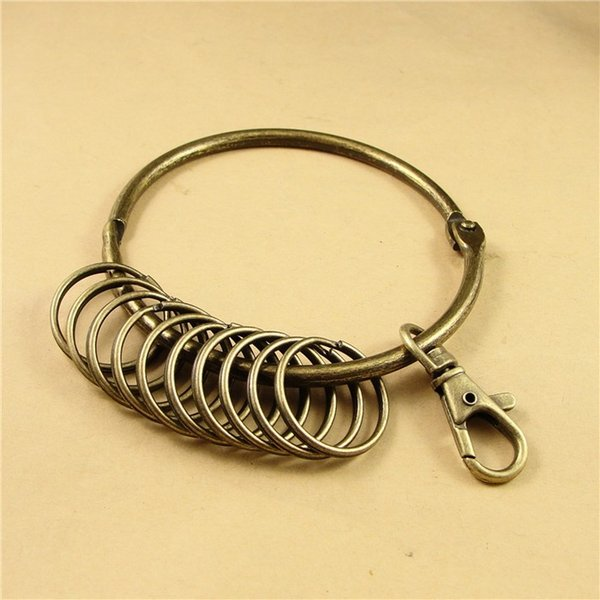 (10 sets/lot) 85mm big key ring antique bronze plated with 10 small key rings jewelry finding hm283