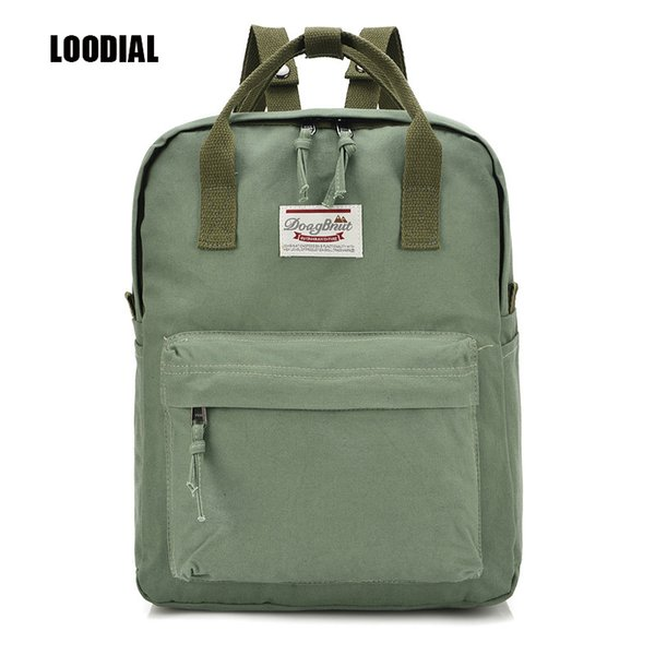 Loodial New Female School Bags Backpack Canvas Solid Backpack School Bags For Teenage Girls Cute Book Bags Women School Backpack