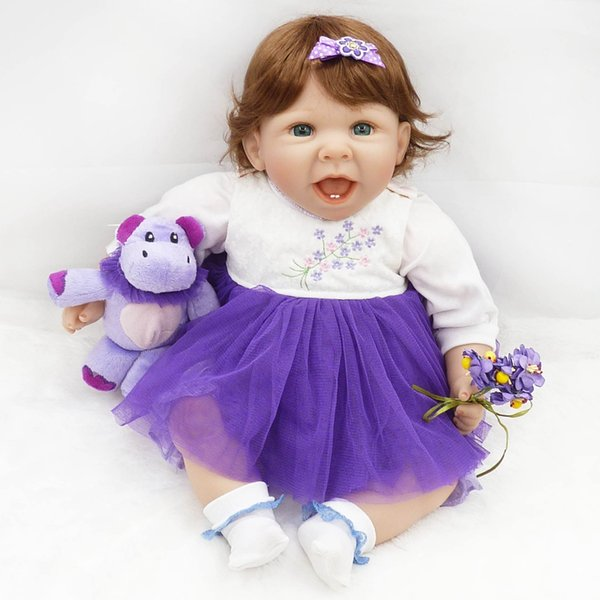 Venta al por mayor- Nuevo 50 cm de silicona Reborn Baby Doll Play House Juguete realista 20 pulgadas recién nacido Princesa Toddler Babies Doll Kids Cumpleaños Regalos de Navidad