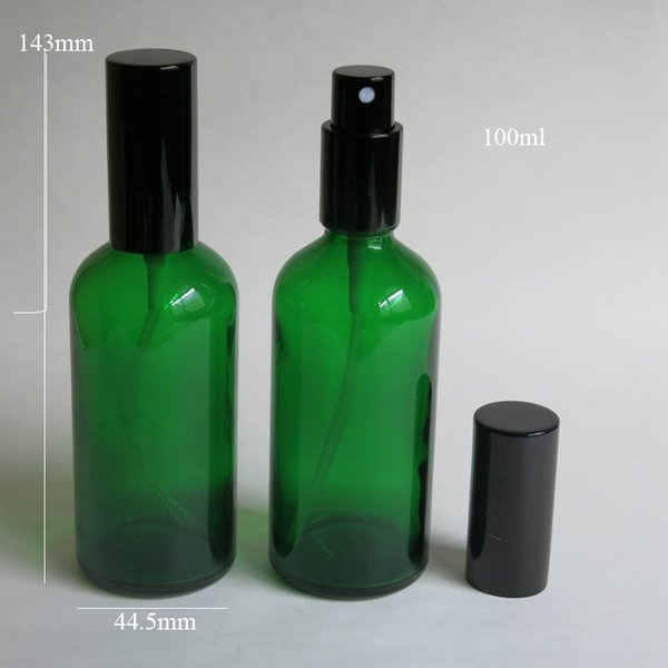 bottiglia di vetro verde all'ingrosso 10 pc / lotto 100ml con lo spruzzatore, bottiglia di vetro dello spruzzo dell'olio essenziale, bottiglia di imballaggio vuota del profumo