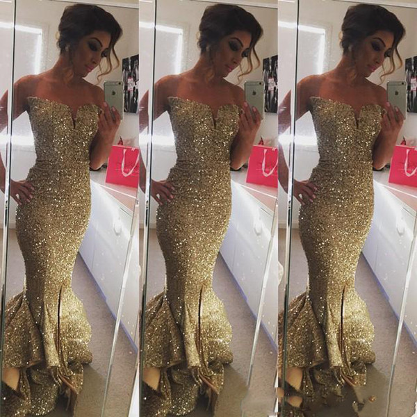 Sparkling Sequined Gold Ruffles Mermaid Prom Dresses Sexy Sweep Train Split Side Long Formal Sweetheart Party Gowns Custom made