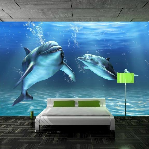 Modern fashion children underwater customized Mural 3d wallpaper bedroom baby kids dolphin cartoon tv wall sofa ofhead wall paper home decor