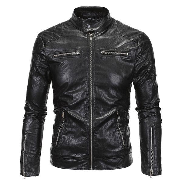 Großhandels- 2016 neue Frühlings-Herbst-Lederjacke Männer Slim Standard Stehkragen Jacke Kunstleder Moto Coat Suede 18Y619