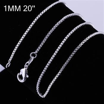 20pcs / lot en argent sterling 925, 1MM, collier de chaîne, 16