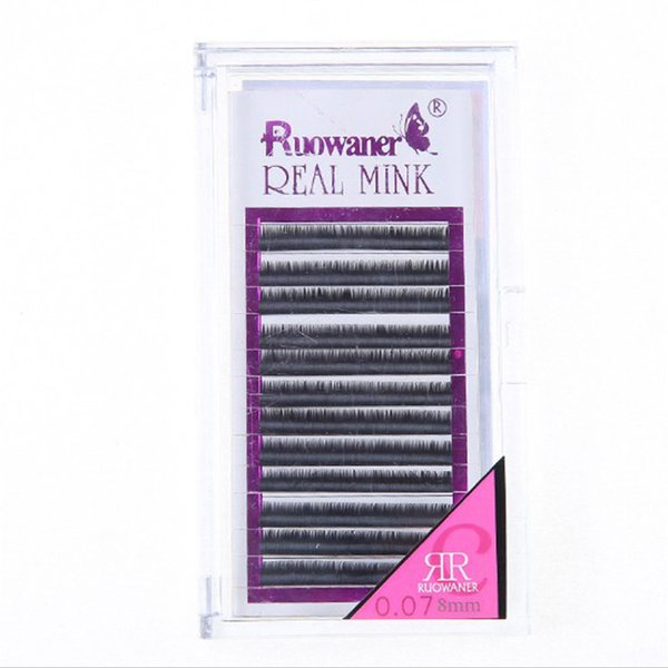 5Case 0.07mm C Curl Real Mink Eyelash Extensions 8-12mm Super Thin and Soft Material can be mixed order
