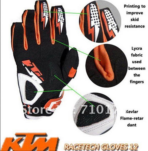 2015 VENDITA CALDA KTM guanti da cross-country in fibra di carbonio / guanti da corsa / guanti da ciclismo Guanti in pelle con protezione arancione taglia M L XL