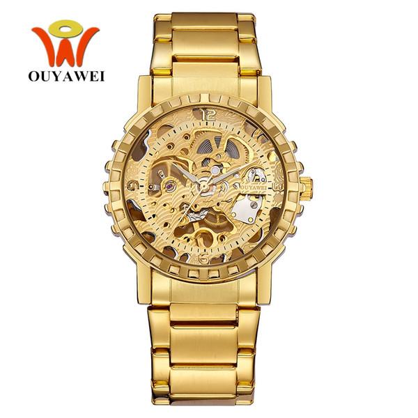 Top Brand OYW NUEVA Caja de Oro Para Hombre Reloj de Viento Mecánico de la Mano Hombres Correa de Acero llena Vestido de Moda Hombre Reloj de Pulsera Relogio Masculino