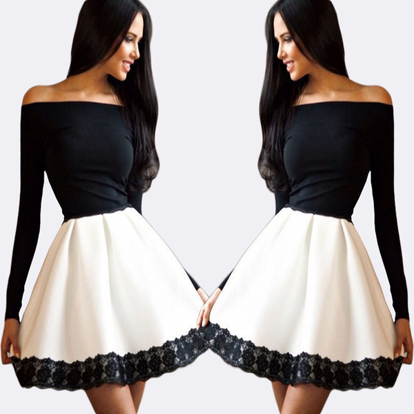 Black And White Ballerina Party Dress Short A Line Homecoming ...