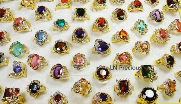 Vente chaude en gros bijoux 10pcs nice 18K plaqué or strass Cubic Zirconia Gold anneaux livraison gratuite